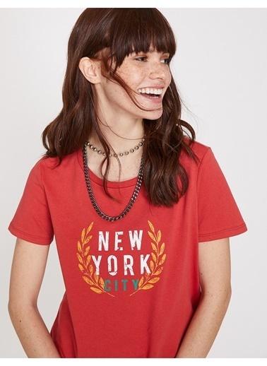 Koton Koton Baskılı Kırmızı  T-Shirt Bordo